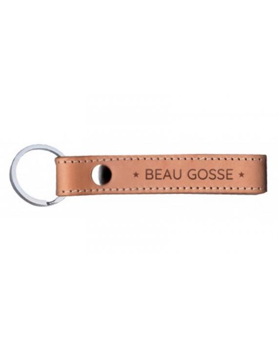 "Porte-clefs cuir naturel ""Beau gosse"""
