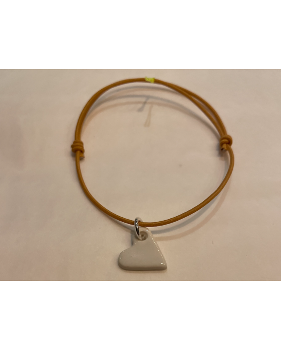 Bracelet safran coeur blanc