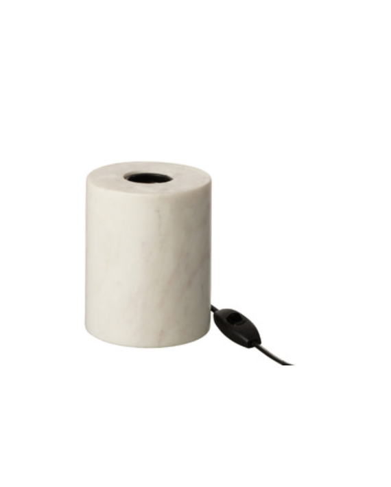 Lampe pied marbre rond blanc