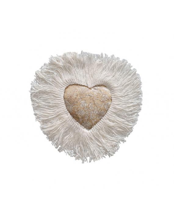 Coeur textile - flower - ocre